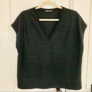 Zara Black Vneck Knit Top
